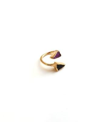 Purple_Black Druzy Ring