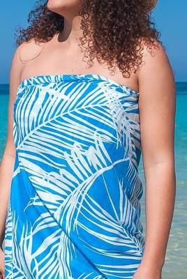 9fa4087a8b9ea BLUE TROPICAL ISLAND VIEW LADIES COTTON BEACH SARONG