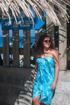 b182f34cae021 AQUA BLUE WISHING STARFISH LADIES COTTON BEACH SARONG